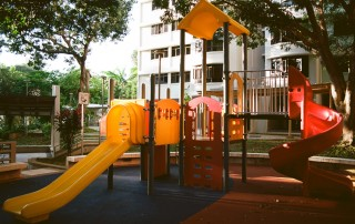orange and black playground slide
